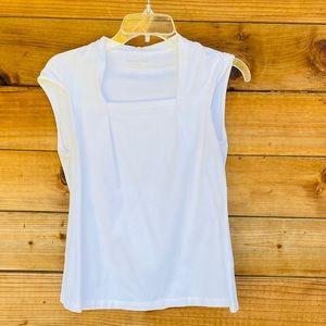 Coldwater Creek white cap sleeve cotton blouse